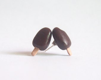 Mismatched Magnum Ice Cream Earring Studs (Brown/Pink/Gold)