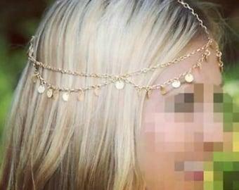 Gold Gypsy Head Chain, Gold Boho Head Chain, Bohemian head piece, Forehead Piece, Hair Jewelry, Bridal Hair Piece