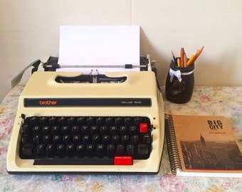 Sale 40% off - Rare Brother Deluxe 1600 - Working Typewriter - Typewriter With Case - Simply vintage - portable typewriter - gift for writer