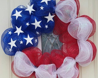 American Flag Fourth of July Wreath