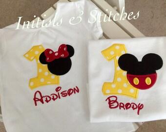 Mickey and Minnie Birthday Number Shirts