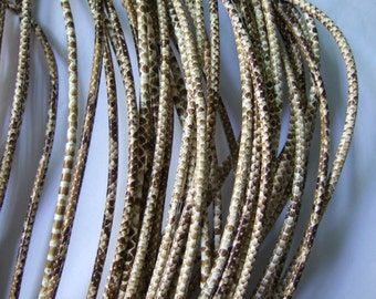 2 Meters Beige Snake Skin PU Leather Cord 3mm thickness snake leather P226