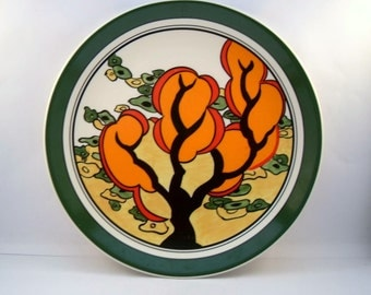 Vintage Clarice Cliff Plate Orange Erin,Clarice Cliff Plate/Charger,Wedgewood Plate, Bone China Plate