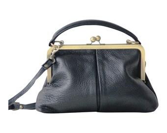 """Leather handbag """"Small Olive"""" in black, vintage ladies bag, handbag, shoulder bag, genuine leather, leather bag, purse"""