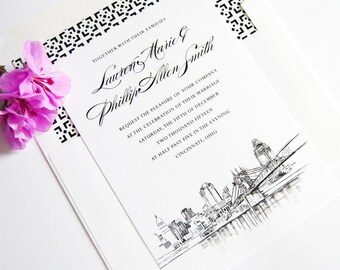 Cincinnati Skyline Wedding Invitation, Cincinnati Wedding Invite, Cincinnati Skyline (Set of 10 Invitations, RSVP Cards + Envelopes)