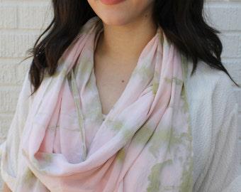 Hand dyed Pink and Sage Shibori Long Silk Crepe Scarf