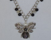 "Silver Plated Bee Pendant,21"" Long Statement Necklace,Black Glass Pearls,Glass Faceted Beads,Matching Earrings,Angel Dangle,FREE SHIPPING !!"