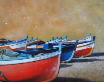Original Painting of Sicilian Fishing Boats