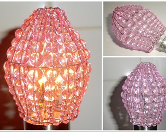Crystal Chandelier Inspired Glass Lightbulb Candle Bulb Cover Pink Rose Pendant Lamp Retro Lamp Shade Light Crystals Drops Beads Moroccan