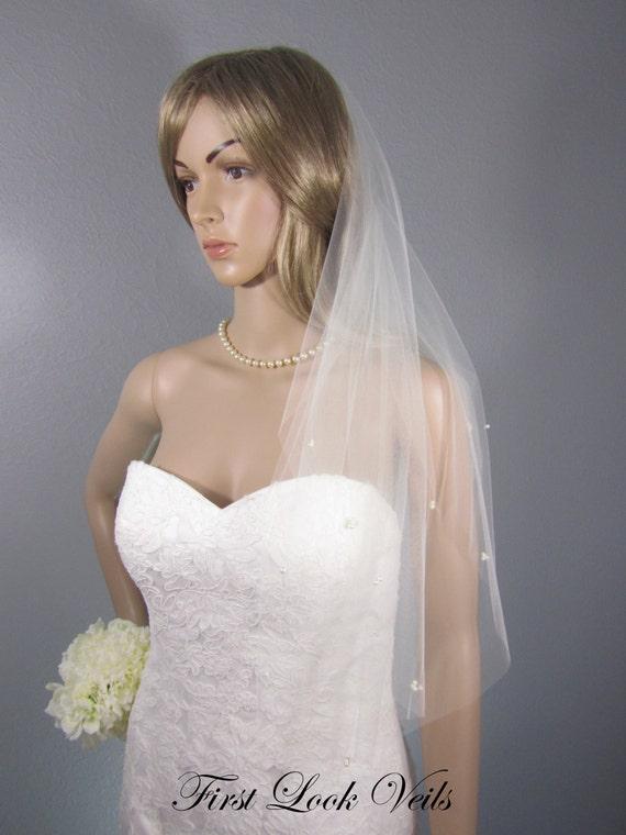 Ivory Wedding Veil, Bridal Elbow Veil, Scattered Glass Pearl Veil, Wedding Vail, Bridal Attire, Bridal Accessory, Bridal Accessories, Gift