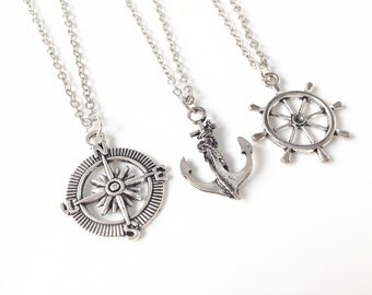 3 Best Friend Necklace,best friends 3,3 best friends,3 best friend Jewelry,3 best friend gift,BFF Necklace for 3,Anchor, Compass, Rudder