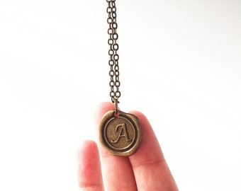 Initial Necklace,Wax Seal Necklace,Custom Necklace,Monogram charms,Personalized Necklace,Monogrammed Gifts
