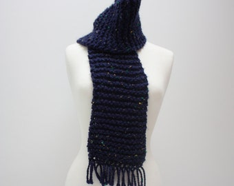 Hand Knit Navy Scarf