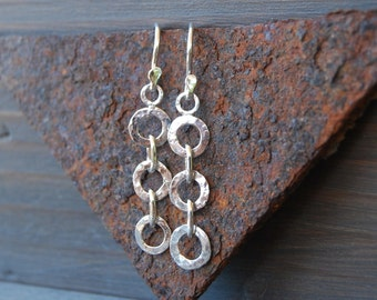 Sterling silver three hammered circles drop earrings
