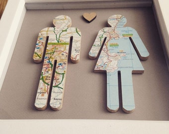 Personalised wooden map people in box frame