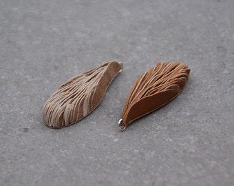 Layered leather drop pendant