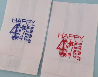 July 4th Party Bags: 10+ White Paper 4th of July Favor Bags, July Fourth Party Supplies