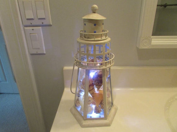 Lighthouse Nautical Bathroom Accessories: Nautical Lamp Lighthouse Lantern Filled With Sea Shells