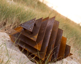 Suken Cube - Abstract Sculpture Rusted Steel