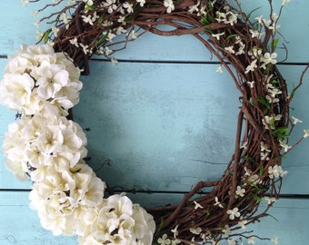 Front Door Wreath, White Summer Wreath, Summer Wreath, Wedding Gift, White Flower Wreath, Wedding Wreath, Wedding Decor, Rustic Wreath