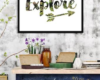 EXPLORE Print, Go Explore Print Art. Nature Photo Print, Explore Typography Print, Explore Printable Art, Kid's Wall Art, Kid's Room Decor