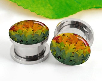 Pairs Maple leaves ear plugs, plugs and tunnels, Body Jewelry Piercing, screw on ear plug,ear plugs gauges, Handmade double-flared, Piercing