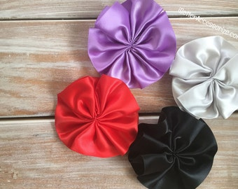 "4 Pinwheel Satin Flowers - 4"" Flower Head - Choose Your Color - Hair Accessory Supplies - DIY - Create Your Own Accessories"