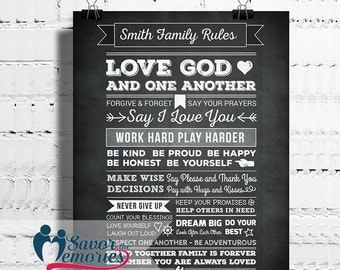 Personalized Family Rules Poster- Family Rules Sign Wall Art- Family Rules Canvas- House Rules Sign- Family Rules Print- House Rules Print