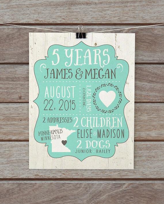 Five Year Wedding Anniversary Gifts: 5 Year Anniversary Custom Gift Wedding Anniversaries 10 Year