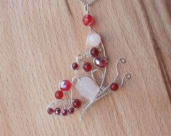 Red Butterfly necklace Wire butterfly pendant Gemstone butterfly Handmade butterfly necklace Rosenquartz pendant necklace Wire wrap necklace