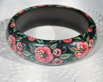 Boho Bracelet Wood ethnic jewelry Handmade Bracelet Black Pink floral jewelry hand painted bangle Bracelet statement gift|for|mom Gift ideas