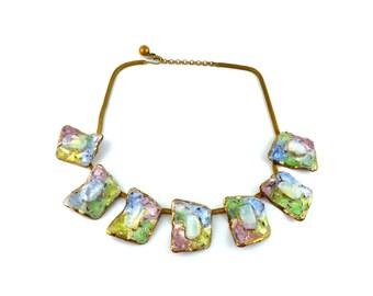 ANDREE BAZOT * Gorgeous vintage multi colored enamel modernist necklace