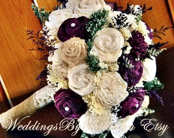 Plum Burlap Ivory Fall Bouquets, Fall Wedding, Burlap Lace, Plum Sola Bouquet, Purple Bouquet,Alternative Bouquet, Keepsake Bouquet, Sola