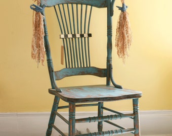 Rustic Shabby Vintage Blue Wooden Chair with Sparkle Birds