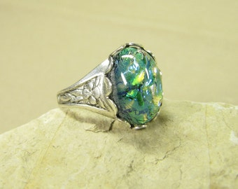 Ring WOODLAND DRAGON II, silver plated ring, dragon's breath glass cabochon blue green, vintage style handmade