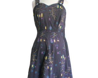 Vintage Dress 1960s Summer Handmade - Atomic Print Blue with Yellow Purple and Teal Button Straps and Sweetheart Neckline - Wide Straps
