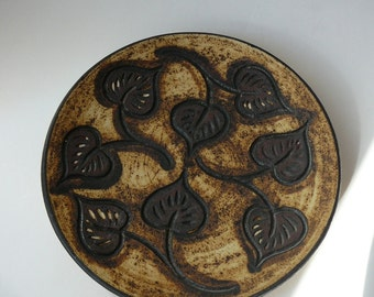 Jeco Haslev Ceramics Danmark Decorative Wall Plate / Dish with Leaf Pattern