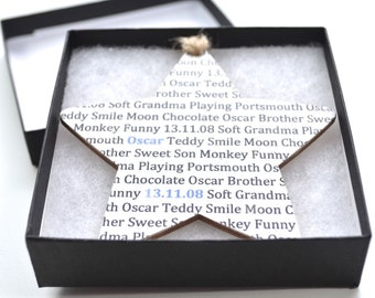 Wooden Word Star - Personalised Wooden Hanging Words Star - Gift