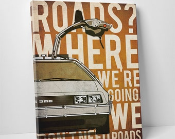 Back To The Future DeLorean 80s poster alternative poster classic movie poster DMC poster Marty McFly poster Dr Emmet Brown Time Machine