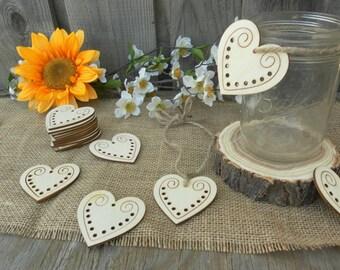12 Wooden Hearts ~ Wood Heart Tags ~ Wood Heart Labels ~ Wedding Decoration, Wedding Favor ~ Spring Wedding