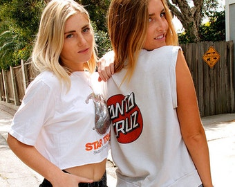 RARE Vintage 80's Iconic Santa Cruz Skateboards Sleeveless Sweatshirt, Epic 1980's Vintage Skateboard Tee Shirt