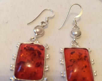 Red Baltic Amber Earrings, Rectangular Amber Earrings with Pearl and Silver