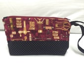 Quilted wristlet bag for wine lovers, quilted cosmetic bag, quilted clutch, red black wristlet, wine clutch. bachelorette party gift idea