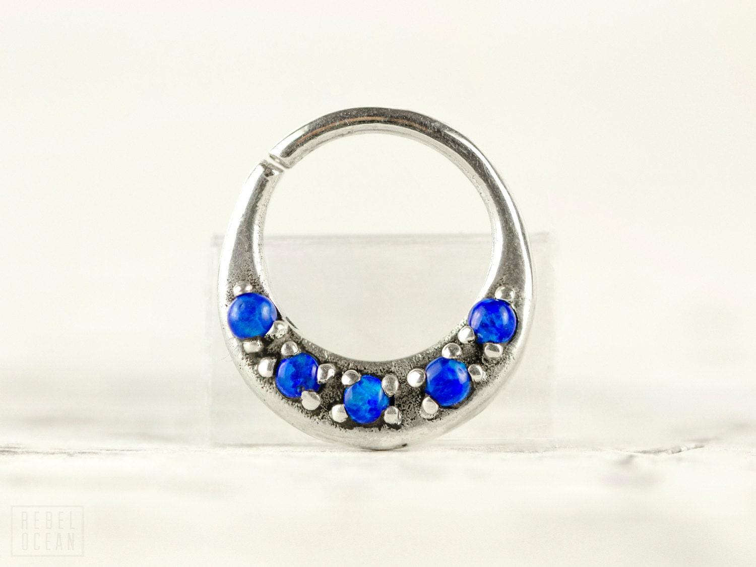 Septum Ring Nose Ring Septum Jewelry Body Blue Opal Stone