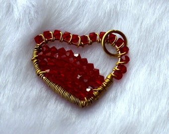 Red Jeweled Heart Wired Pendant In Hand Made