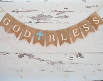 God Bless Banner, First Communion Banner, Christening Banner, Baptism Banner, Confirmation Banner, Cross Banner, Religious Banner, B086