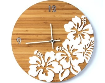 Tropical Hibiscus Flower Wall Clock
