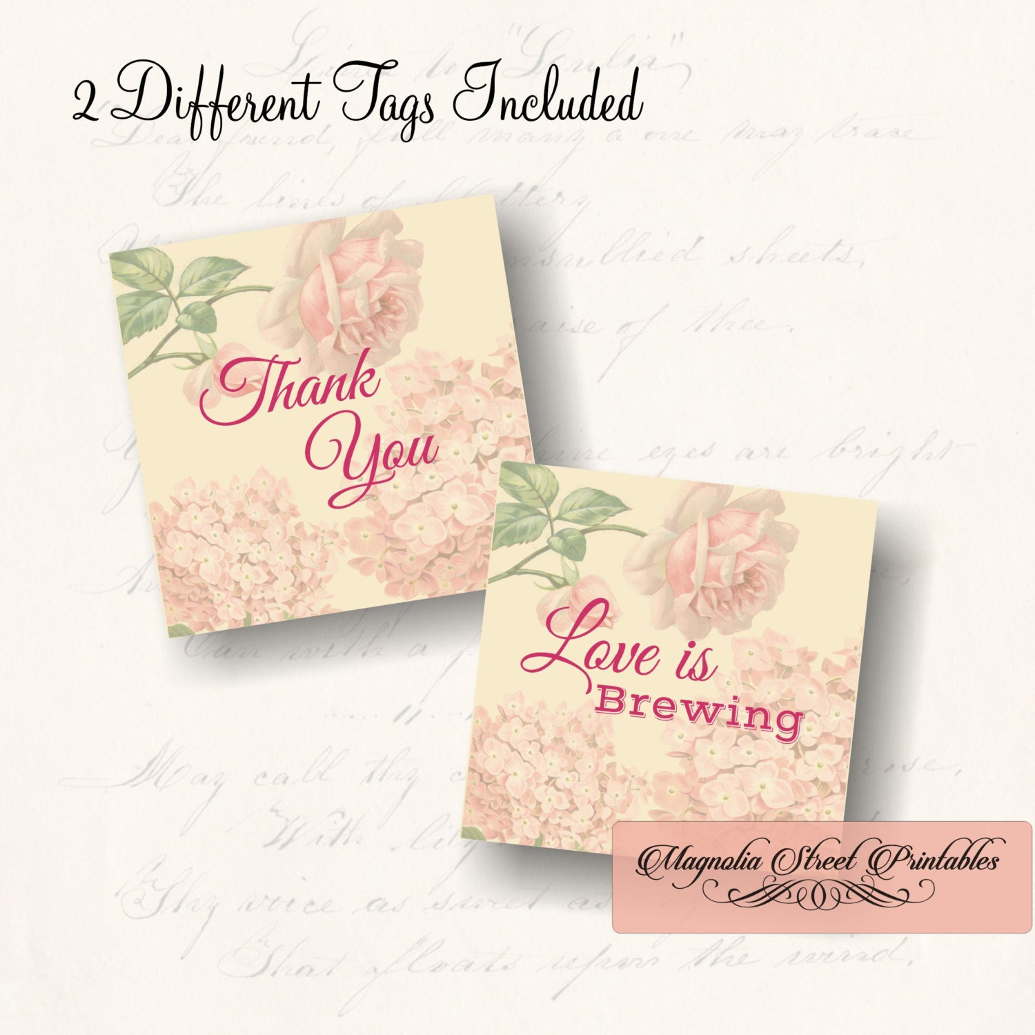 love is brewing favor tags printable bridal shower thank you