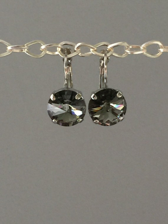Black Diamond Swarovski Crystal Earrings, Silver