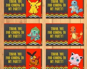 Pokemon Party Tags Chalkboard * Pokemon Goody Bag Tags * Pokemon Birthday * Pokemon Printable * Pikachu Party * Pokemon Party Favor